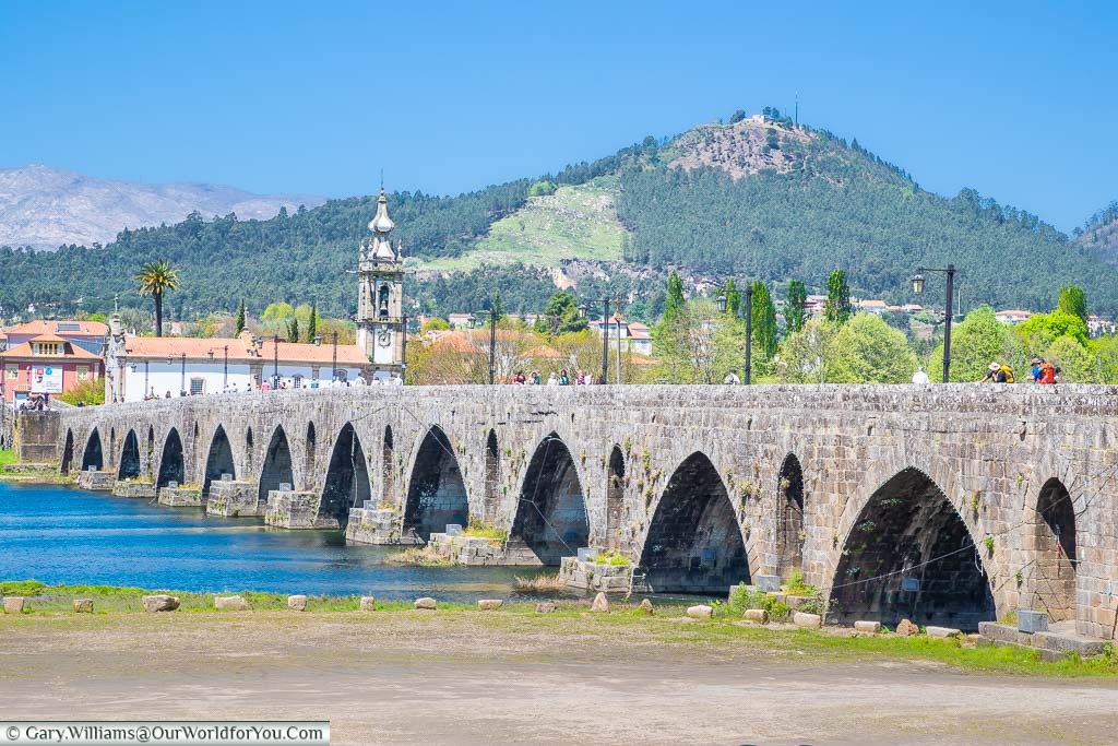 The Ponte de Lima, crossing the River Limia, in the town that shows its name of the bridge in Northern Portugal.