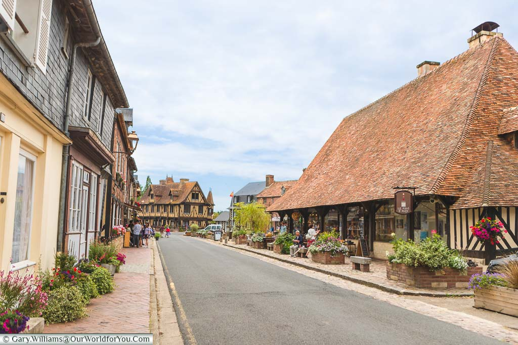 The tiled market building, next to the high street, in the very centre of Beuvron-en-Auge in Normandy