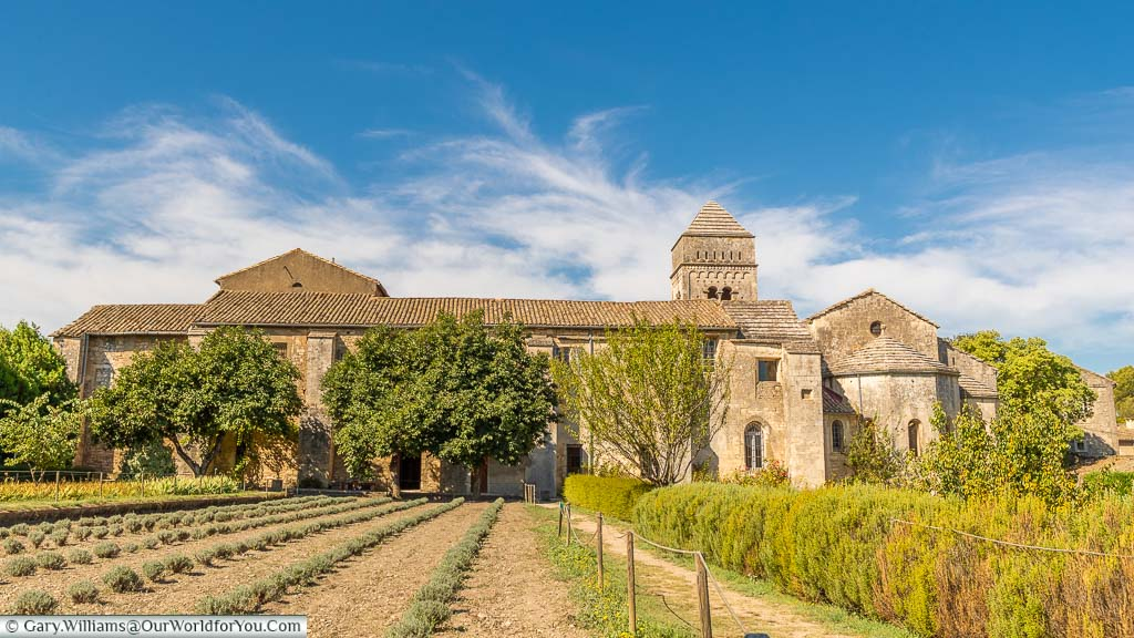 A view from the back of the gardens of the stone Monastery of Saint-Paul de Mausole, Saint-Rémy-de-Provence, France