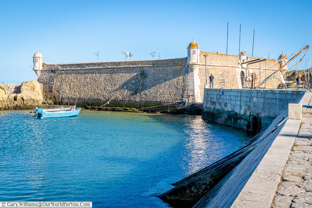 The 17th-century Forte da Ponta da Bandeira at the entrance to the harbour in Lagos, Portugal
