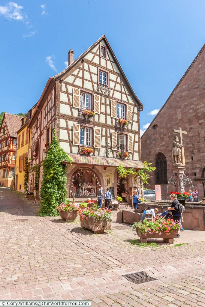 The medieval timbered building of Kaysersberg in the Alsace region of France