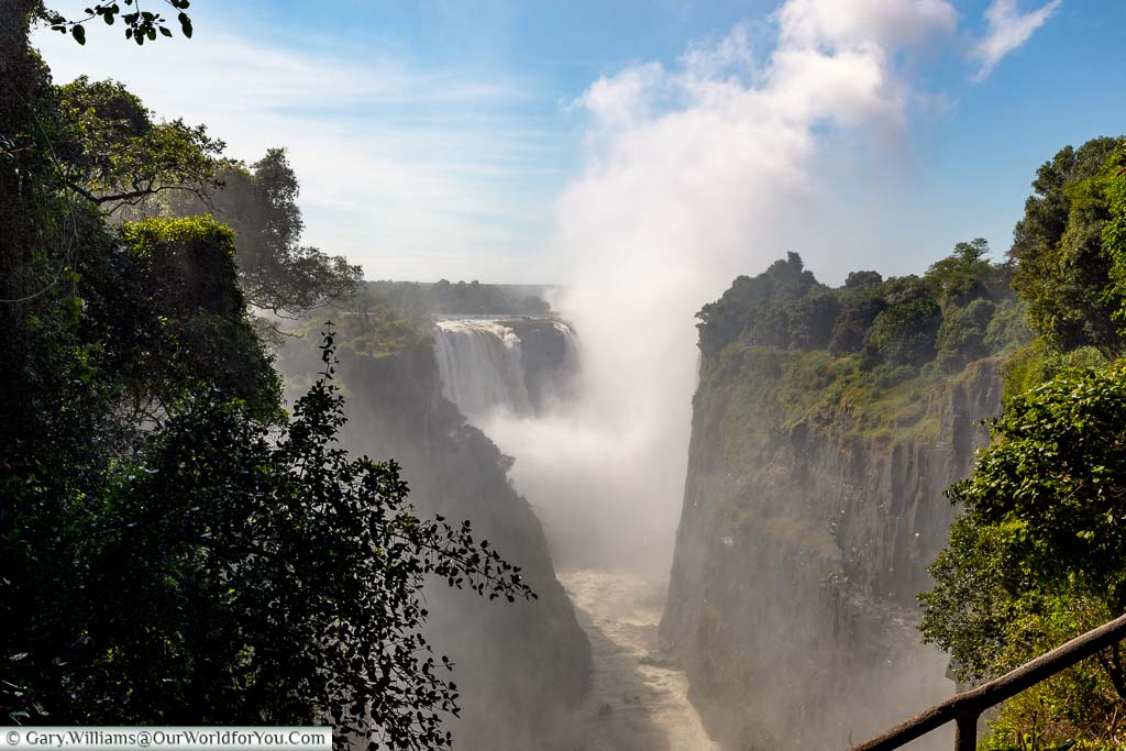 The view along the gorge from the start of the Victoria Falls from one of the first viewpoints you come to from the park.