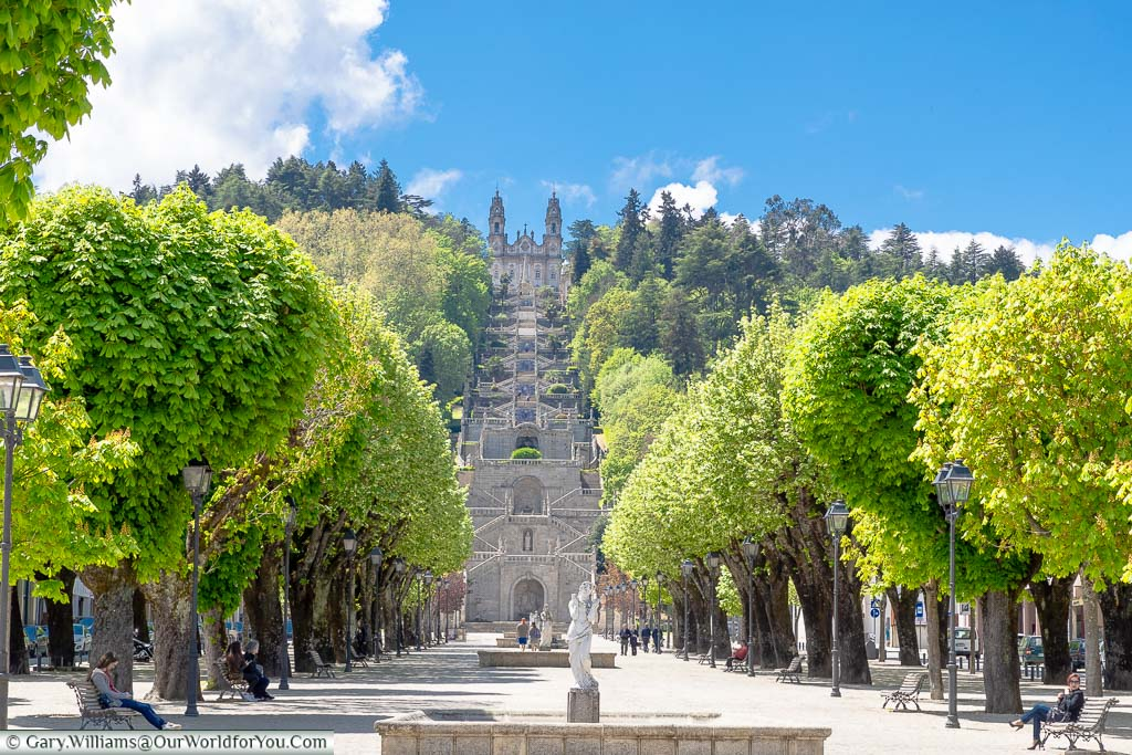 Looking along a tree lined square to the staircase that leads to Our Lady of Remedies chapel on the hillside of Lamego, Portugal