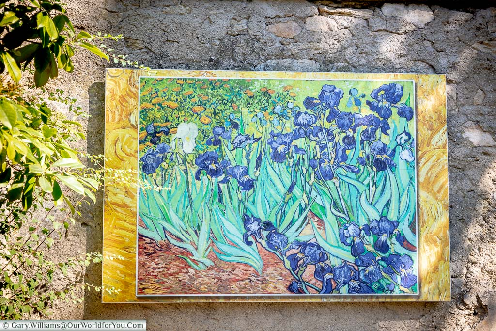 A print of Vincent Van Gogh's 'Irises' on an eternal wall in the gardens of the Monastery of Saint-Paul de Mausole in Saint-Rémy-de-Provence, France