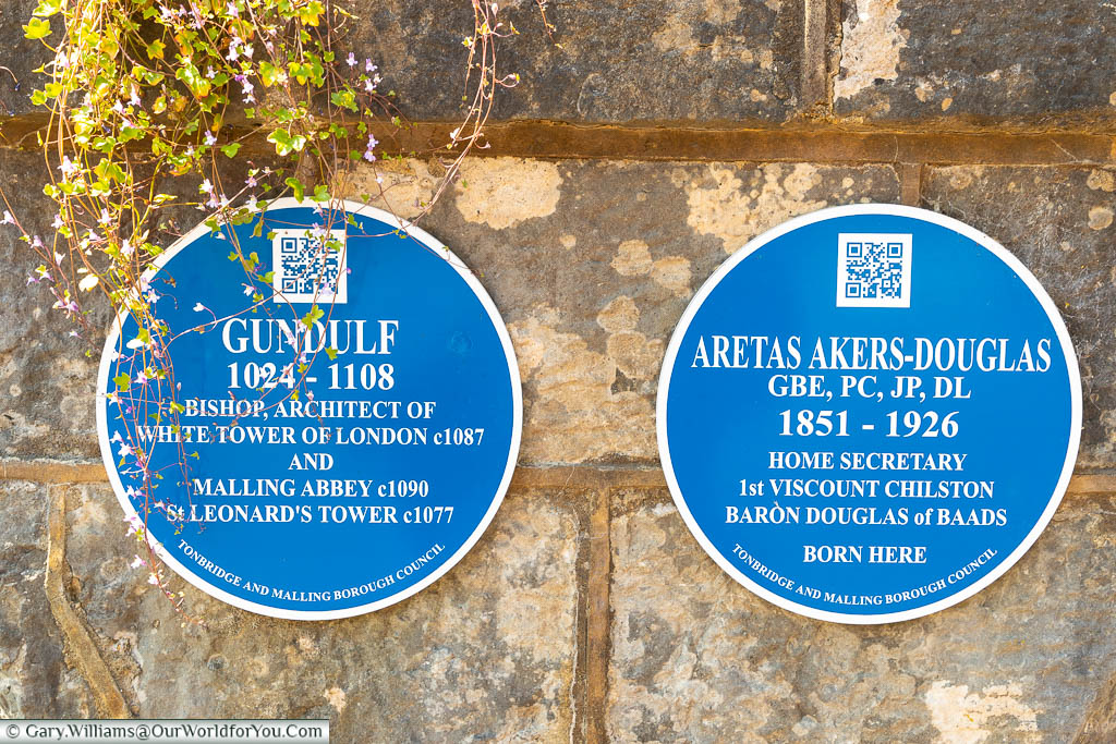 A Tonbridge & Malling Borough council blue plaque to Gundulf and Aretas-Akers Douglas at St Mary's Abbey, West Malling