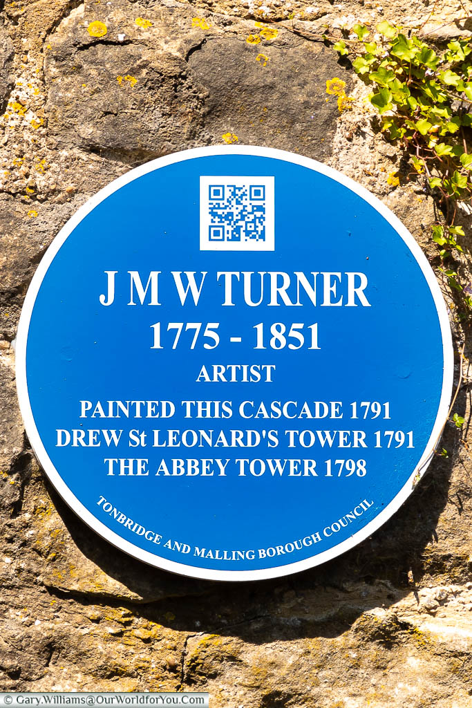 A Tonbridge & Malling Borough council blue plaque to Blue plaque to JMW Turner on the cascades in West Malling
