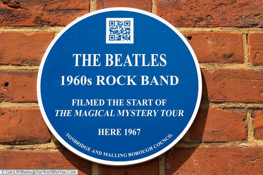 A Tonbridge & Malling Borough council blue plaque to Blue plaque to Blue plaque to The Beatles, West Malling, Kentron the High Street in West Malling