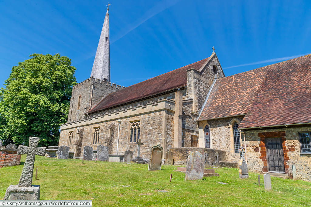 A view across the graveyard to the Church of St Mary the Virgin in West Malling, Kent