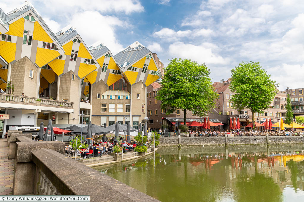 The iconic bright yellow cube houses overlooking patrons filling the harbourside cafes, bars and restaurants in Rotterdam, Holland
