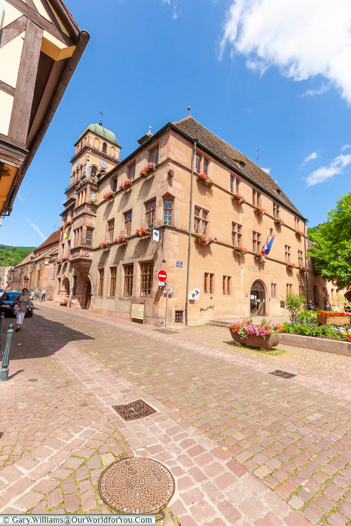 The ochre-coloured stone town hall in Kaysersberg, France