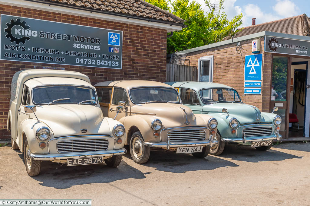 A brace of classic Morris Minors of various types at King Street Motors in West Malling