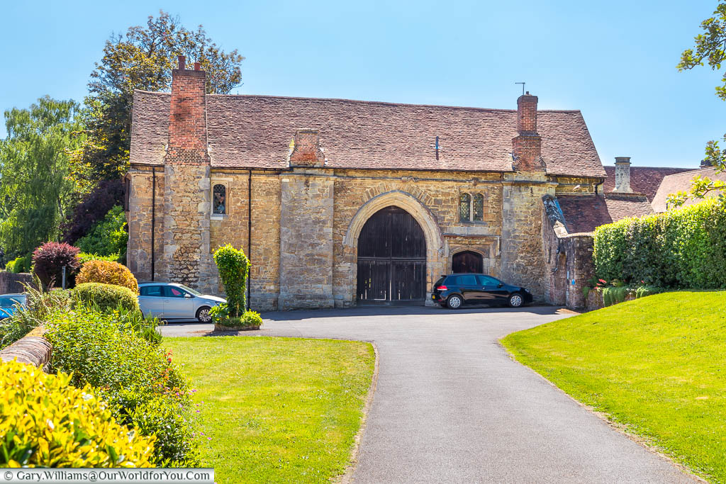 The medieval stone gated entrance to St Mary's Abbey in West Malling, Kent
