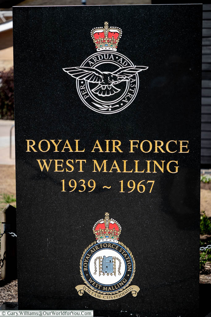 A large granite tablet featuring the emblem of the RAF, with the inscription Royal Air Force, West Malling 1939 - 1967