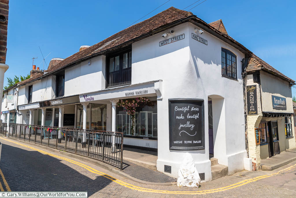 A parade of unique shops on the corner of King St & West St in West Malling