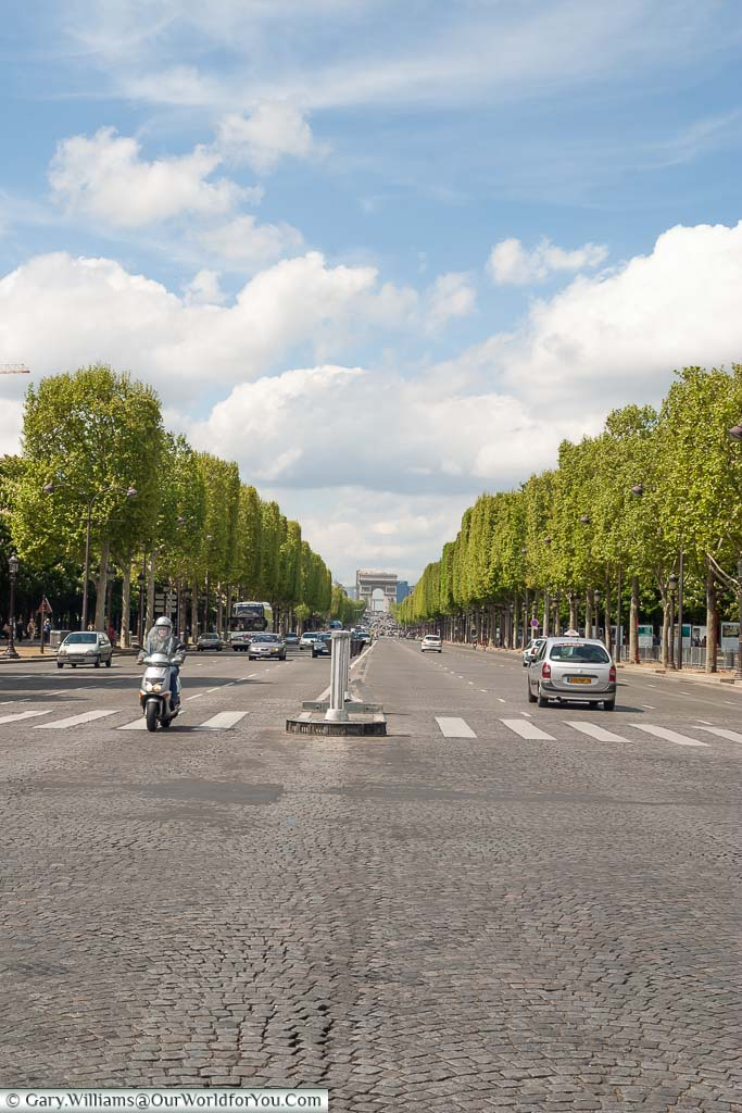 Looking up the Champs Elysee from the Place de la Concorde, the finish line for the Tour de France