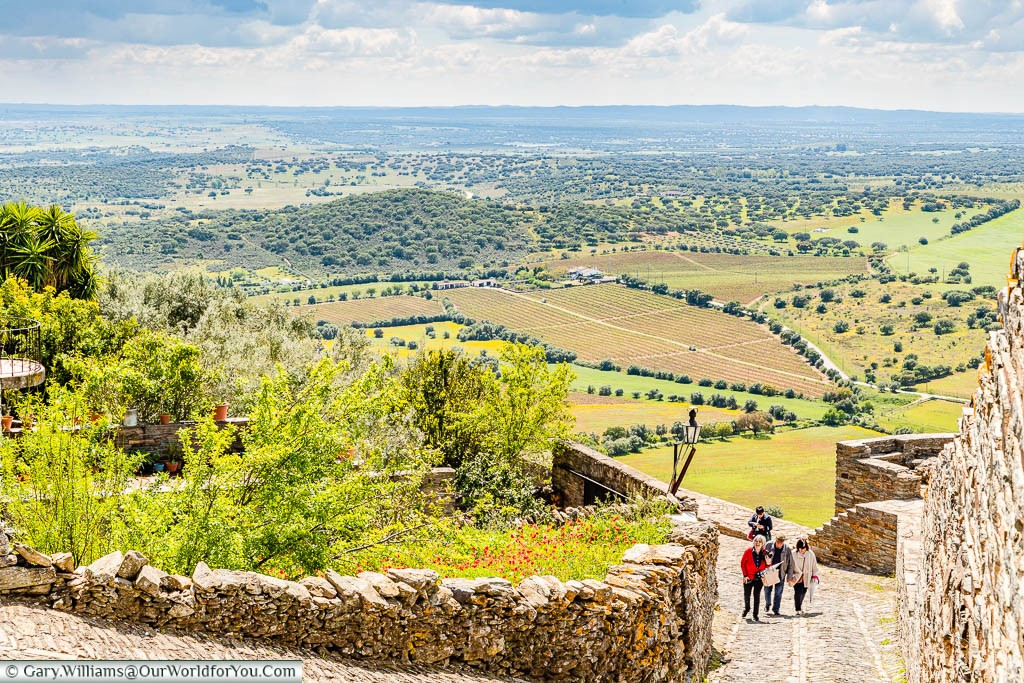 A view across the Alentejo countryside from the hillside town of Monsaraz, Portugal