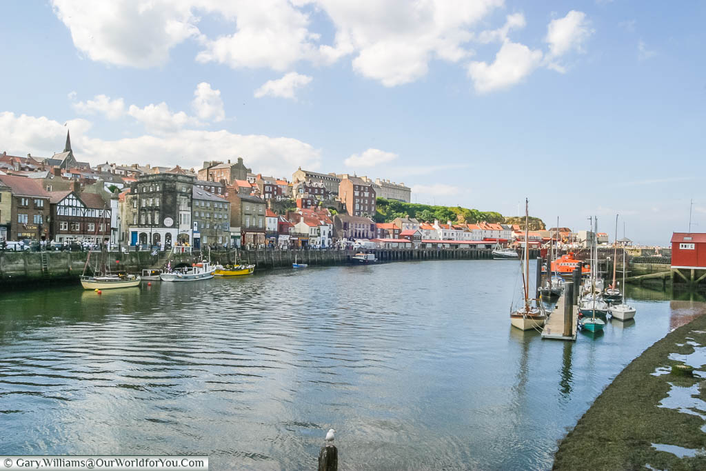 Boats moored up on Whitby quayside in Yorkshire, England