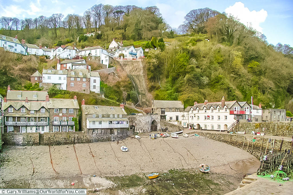A view of the steep incline up from Clovelly harbour to the village at the top
