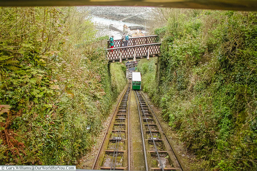 The view looking for the tracks of the Victorian funicular railway that connects Lynton and Lynmouth