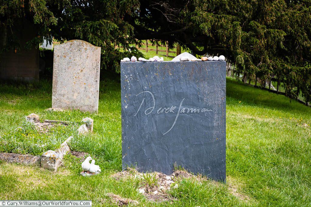 The slate headstone at the grave of Derek Jarman in St. Clement Church, Old Romney, Kent