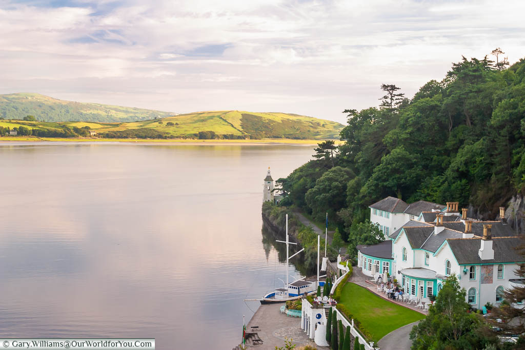 The mixed tones over the landscape off the shore of Portmeirion in Gwynedd, Wales