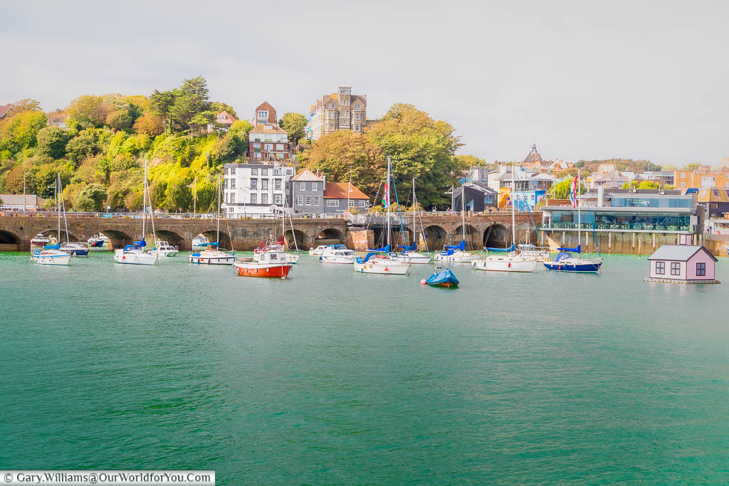 A Harborview of Folkestone looking towards the Old Town in the distance.