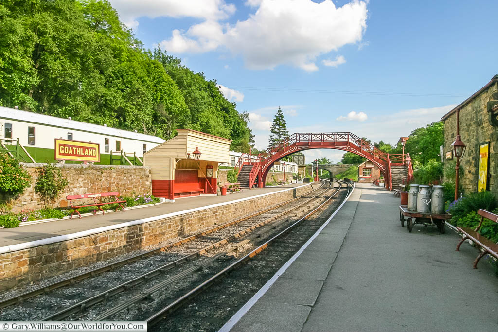 The period styled Goathland Station in the North York Moors National Park in Yorkshire, England