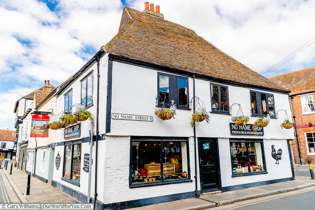 The No Name Shop on No Name Street in the centre of Sandwich, Kent