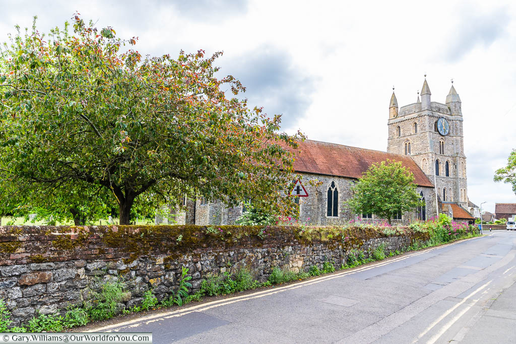 The traditional Norman, stone-built, St Nicholas Church in New Romney, Kent