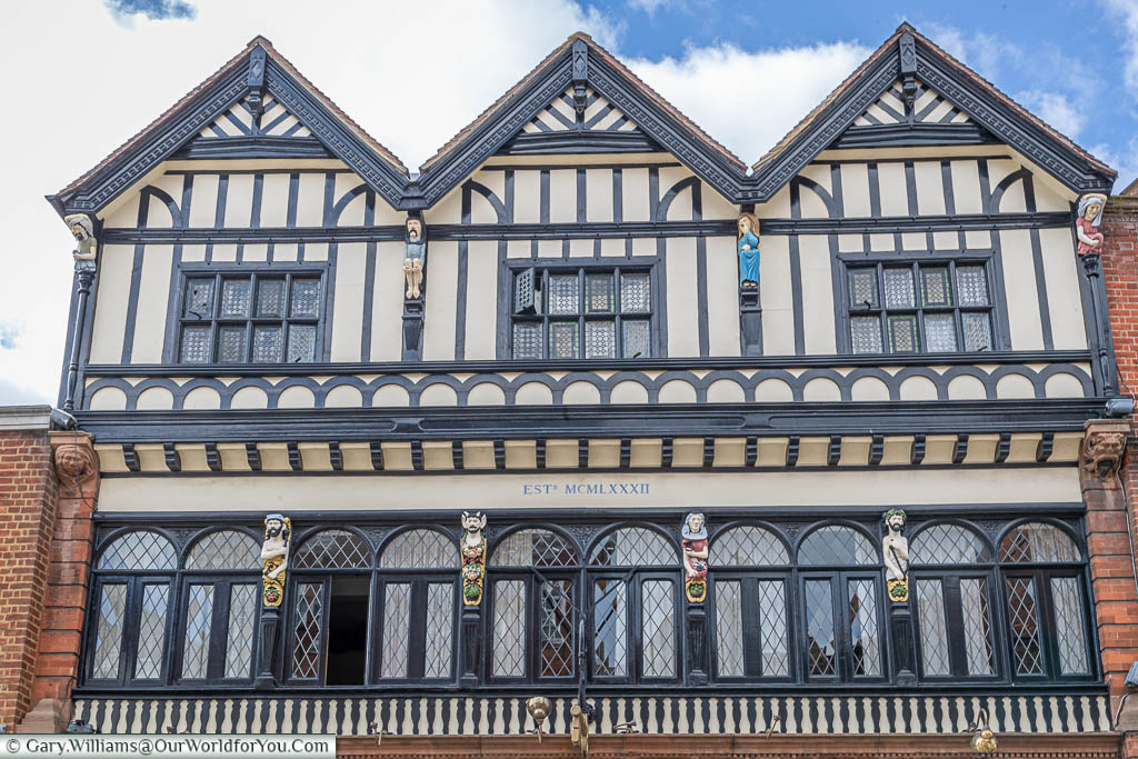 The Golden Key building on Market Street, a 19th-century building in a mock Jacobean style timber-framed style in the centre of Sandwich
