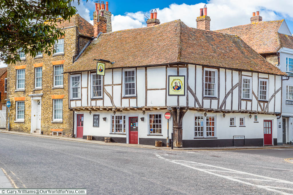 The 15th-century timber-framed Admiral Owen Pub on the corner of the Strand and the Hight street in Sandwich, Kent