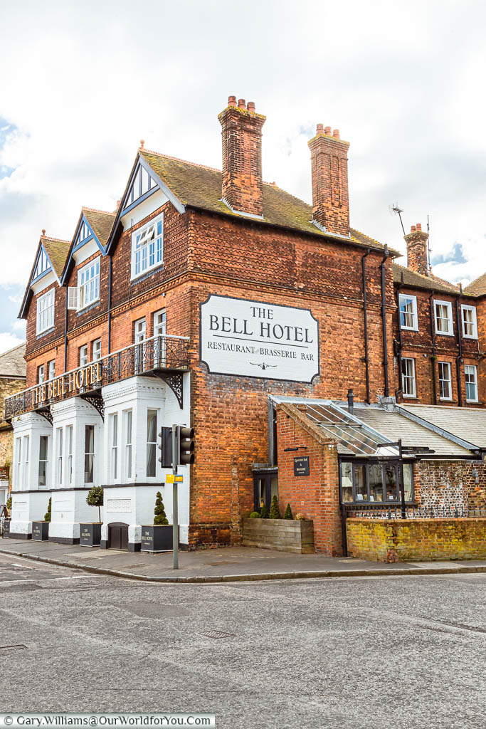 The late 19th-century Bell Hotel on the corner of the Quay and the Hight street in Sandwich, Kent