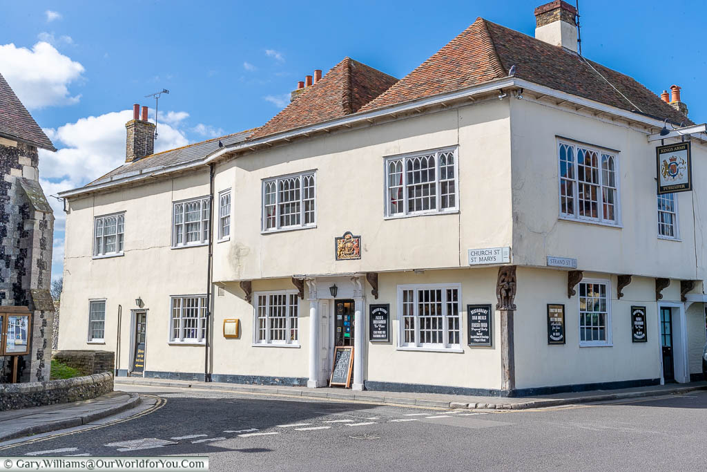 The outside of the historic King's Arms Public House on Church Street St Marys and Strand Street in Sandwich, Kent