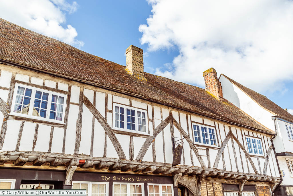 The 15th-century Sandwich Weavers' half-timbered building on the Strand in Sandwich, Kent
