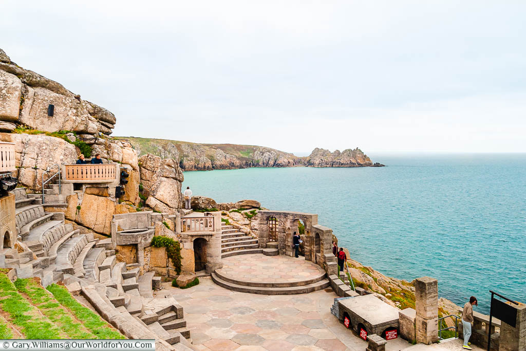 The view from the upper reaches of the outdoor Minack Theatre over the bay on the Cornish coast