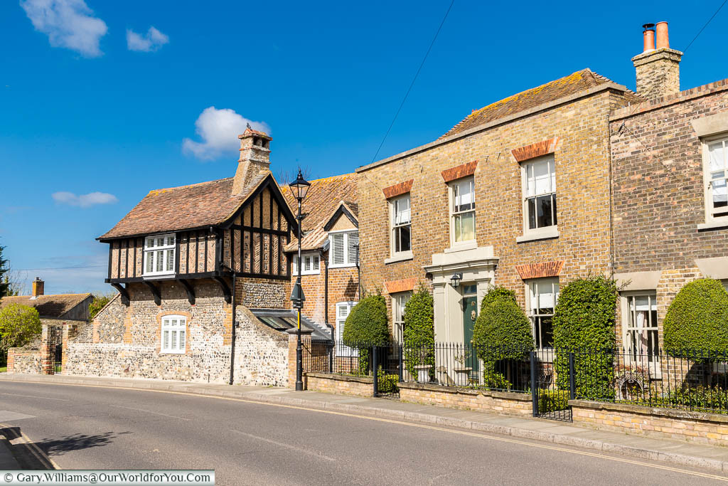 Stone homes of mixed periods on Strand Street in Sandwich, Kent