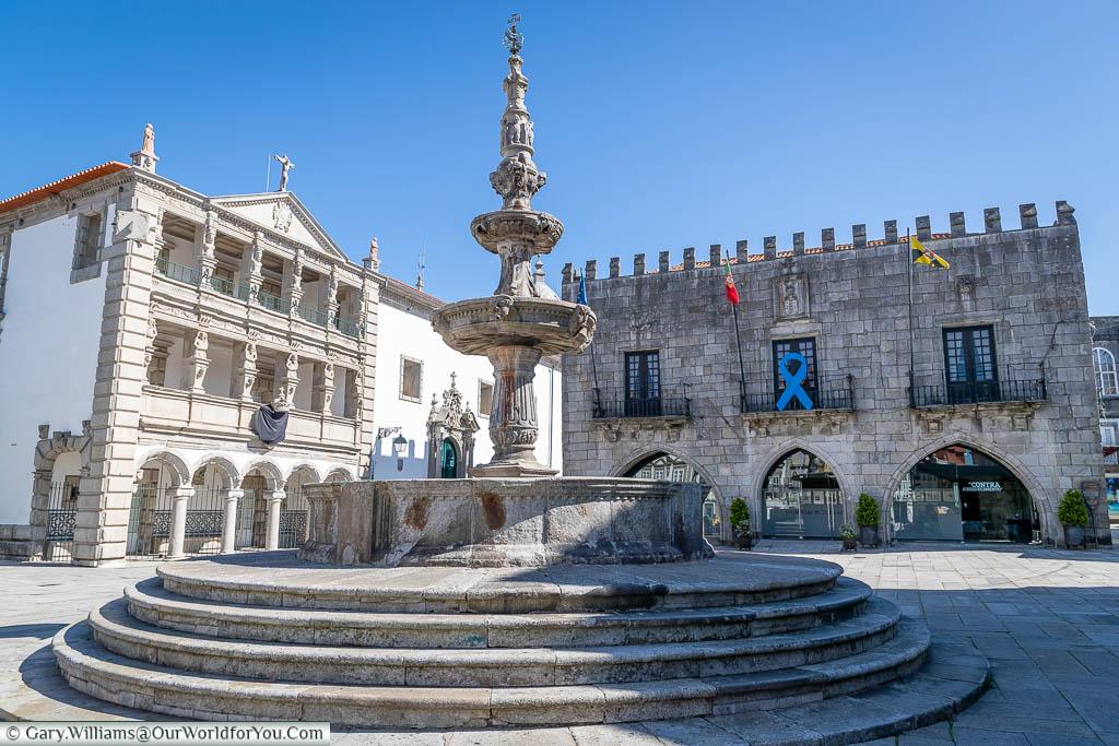 A stone fountain in the centre of Praca da Republica, Viana do Castelo, Portugal