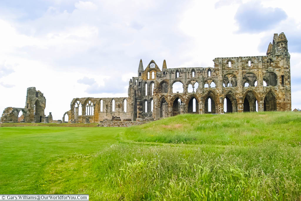 The remains of Whitby Abbey, high on the hillside over Whitby bay in Yorkshire