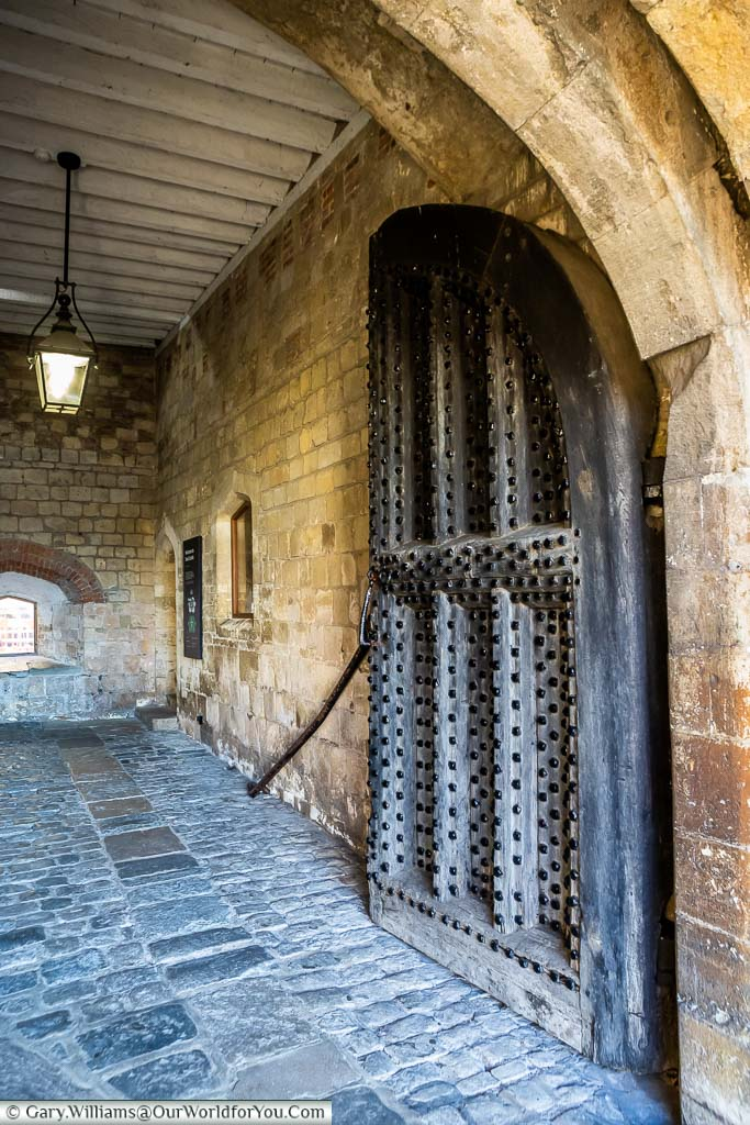 The heavy wooden door, reinforced with iron studs, at the entrance to Deal Castle