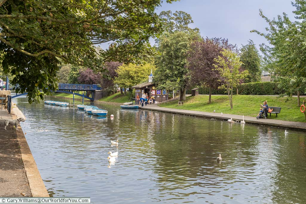 Boats moored up on the Military Canal in Hythe