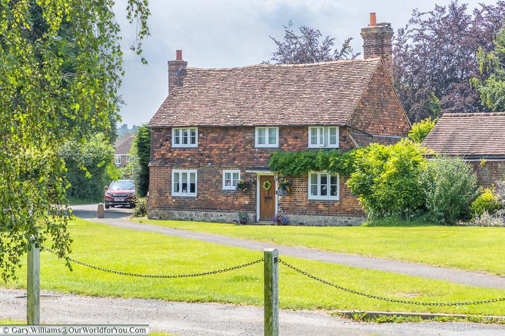 The 16th-century red-brick & tiled Bubblestone Farmhouse next to Otford's Village green