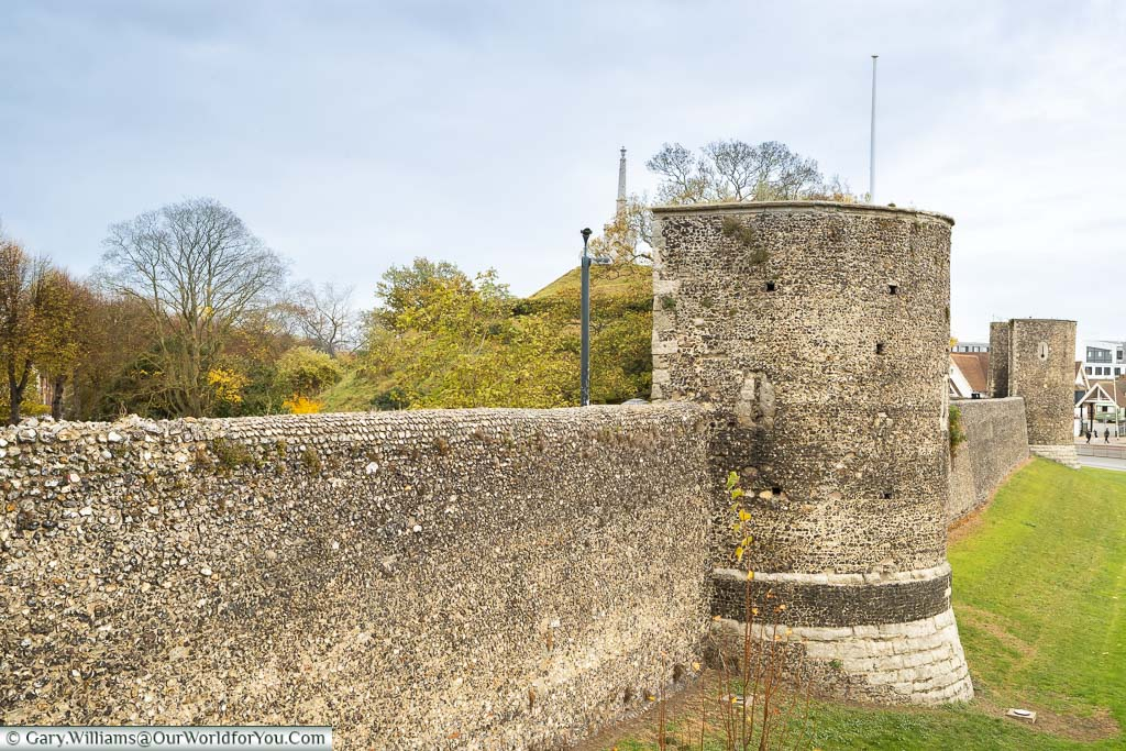 Canterbury's City Walls around the edge of Dane John Gardens in the south-east of the city