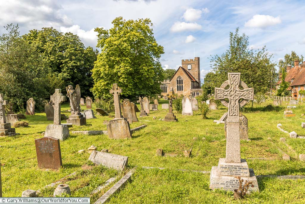 Looking over the headstones of the graveyard towards St Peter and Paul's church in Headcorn