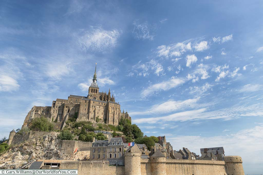 A close-up shot of Mont-Saint-Michel from the causeway.