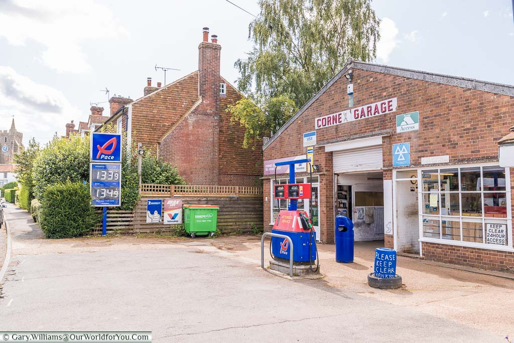 A tiny traditional petrol station in garage in the village of Rolvenden, Kent