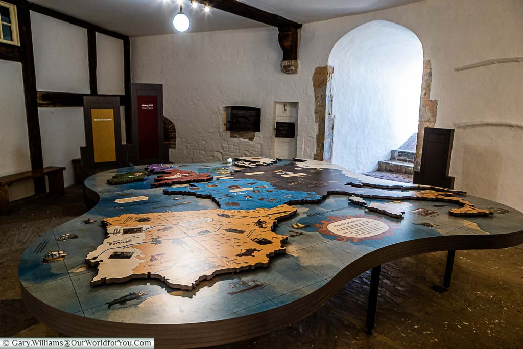 A large map exhibit, detailing the balance of power within Europe during Henty VIII's reign, in one of the many rooms within Deal Castle