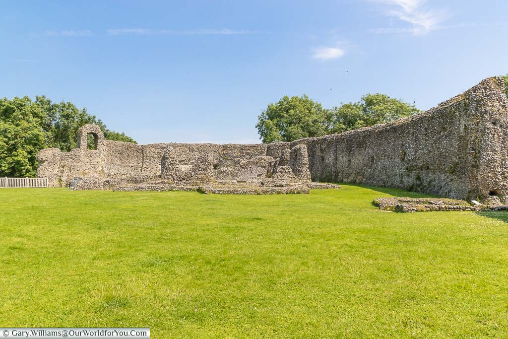 Inside the ruins of Eynsford Castle surrounded by ancient stone walls