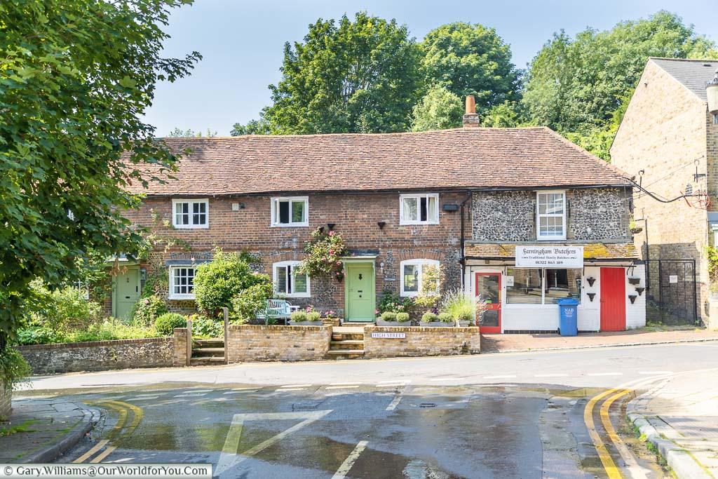 The traditional Farningham Butchers, nestled at the end of a terrace of pretty little cottages in Farningham high street, Kent