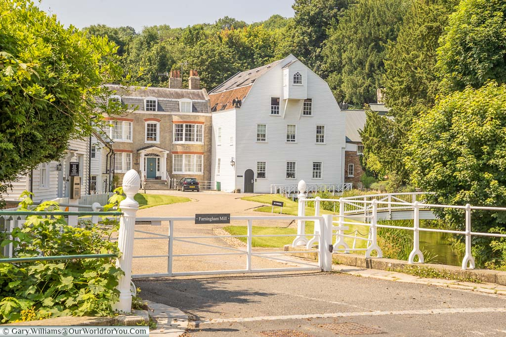 The white weatherboarded 18th-century Farningham Mill in Farningham, Kent