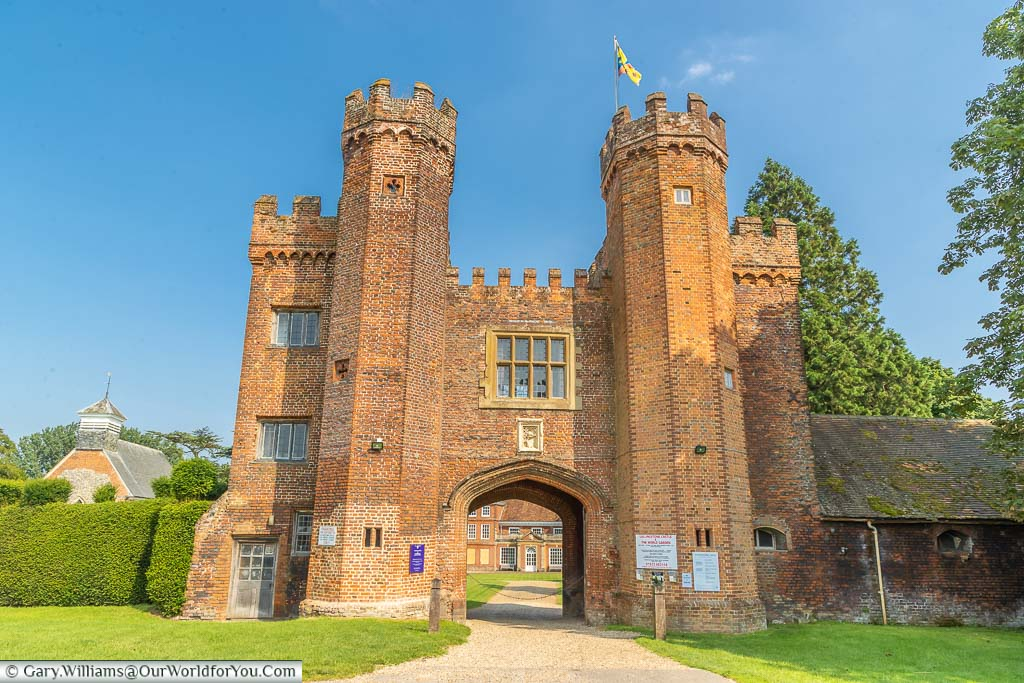 The grand, imposing, red-brick gatehouse to Lullingstone Castle and The World Garden in the Darenth Valley, Kent